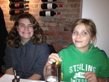 Sophia and Annika enjoying dinner at Maria Pia