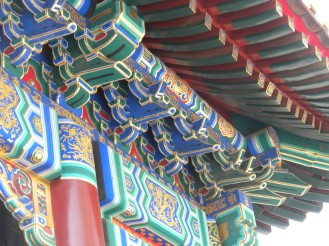The buildings in the Lama Temple are colorfully decorated.