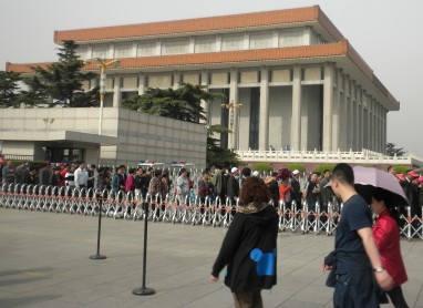Chinese tourists stand in line for hours for a brief glimpse of Mao's body.