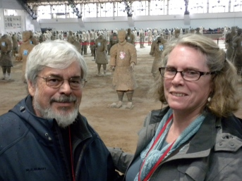 With terra cotta soldiers that are being reconstructed