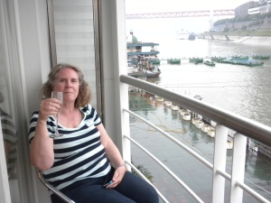Robin relaxing on the veranda of our stateroom