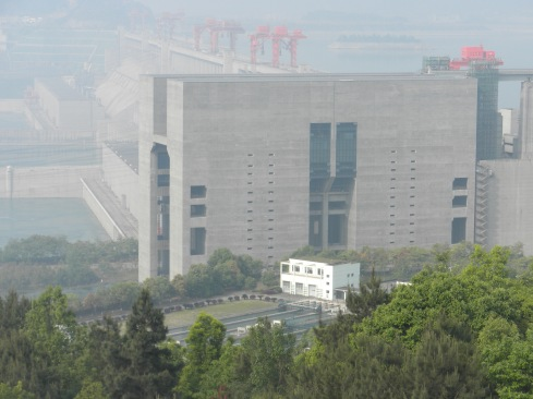 The ship elevator, with the dam in the background