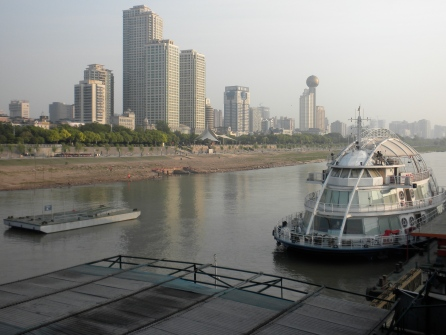 Wuhan, with an unusual boat in the foreground