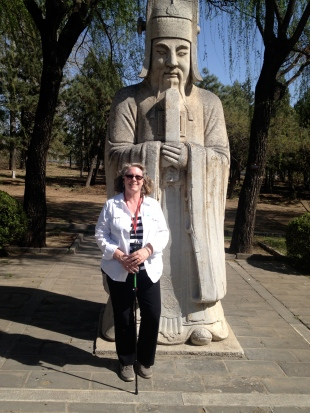 Robin and friend, on the Sacred Way of the Ming Tombs