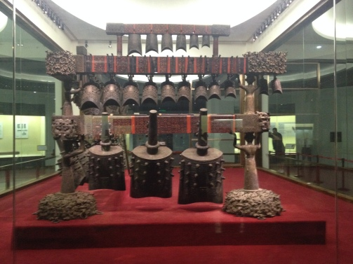 Some of the fifth-century instruments at the museum in Wuhan