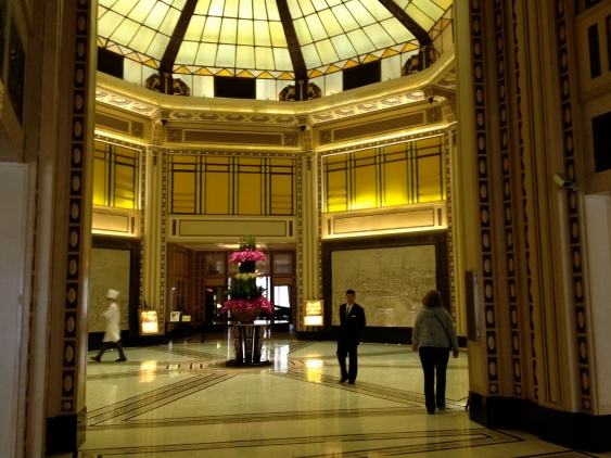 Part of the lobby of the Fairmont Peace Hotel