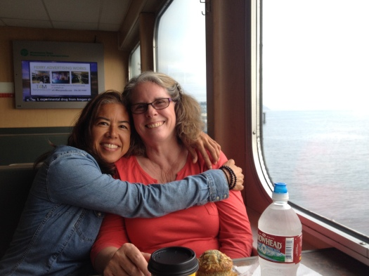 Rita and Robin on the ferry from Whidbey to Mukilteo