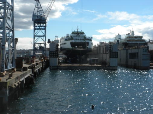 A ferry under construction on the Seattle docks. The superstructure was built on Whidbey.