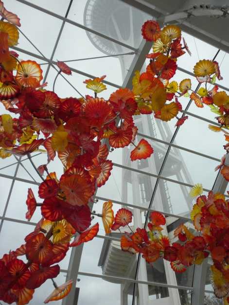 Chihuly glass with the Space Needle looming in the background