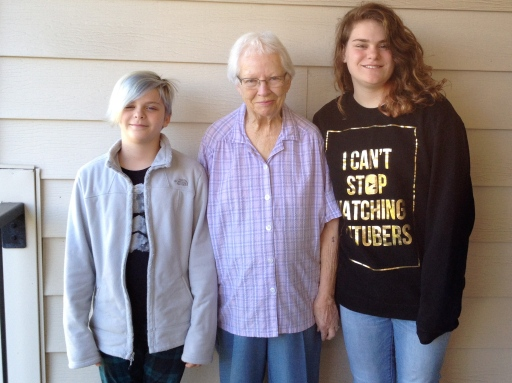 Annika and Sophia with their Great Grandmother Lois