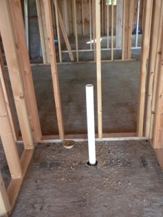 The first pipe, where the toilet will go in the guest bathroom