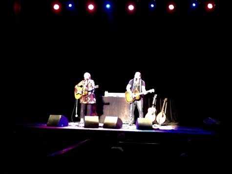 Shawn Colvin and Steve Earle on stage at the Neptune Theater