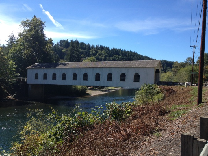 Side view of the Goodpasture Bridge