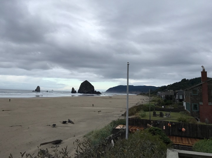 The view of Haystack Rock from our rental house in Cannon Beach