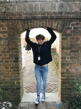 Sophia holding up an arch at the governor's palace.