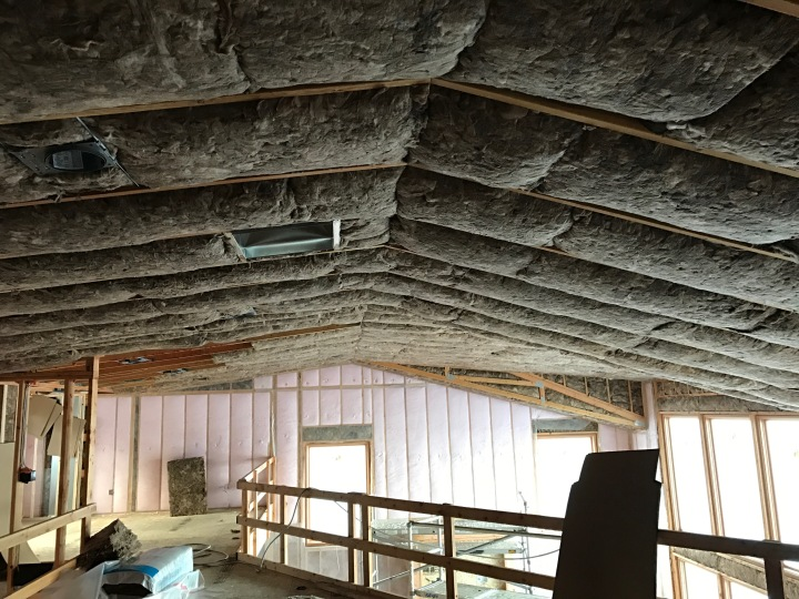 Insulation is complete. Batting in the ceiling and interior walls, blow-in insulation (the pink stuff) in the exterior walls.