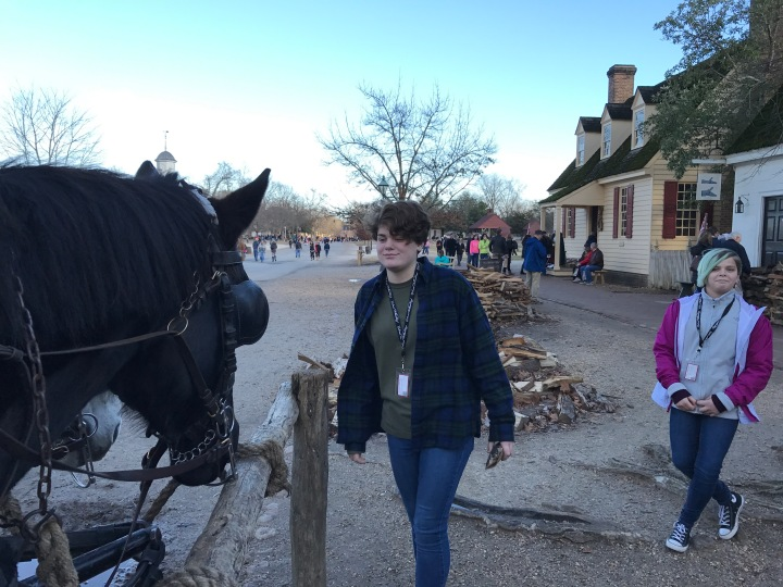 Sophia and Annika meeting one of the carriage horses