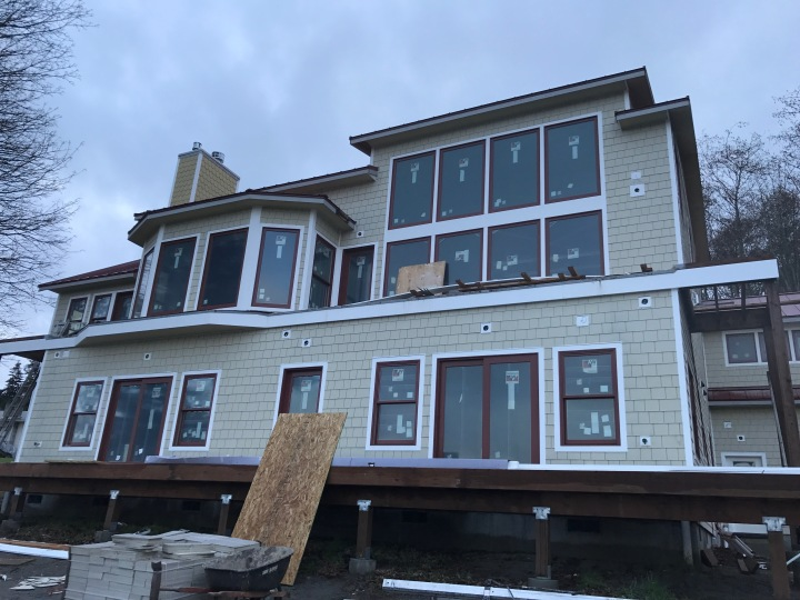 All the siding is on. Once the weather improves, it will get painted.