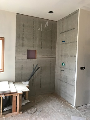 Cement wallboard in the master-bath shower