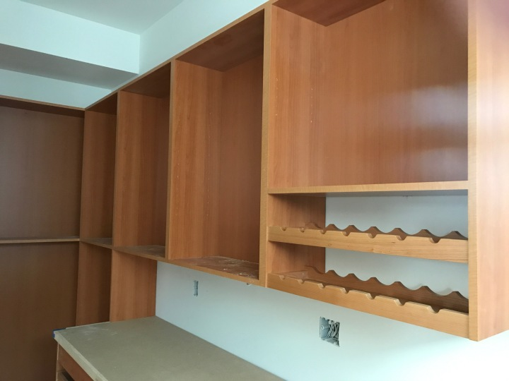 Shelves and wine rack in the pantry