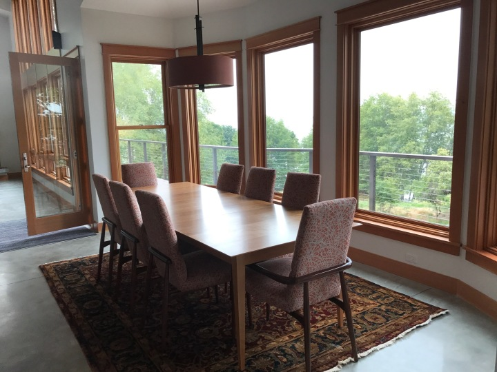 The dining room now has its table and chairs.