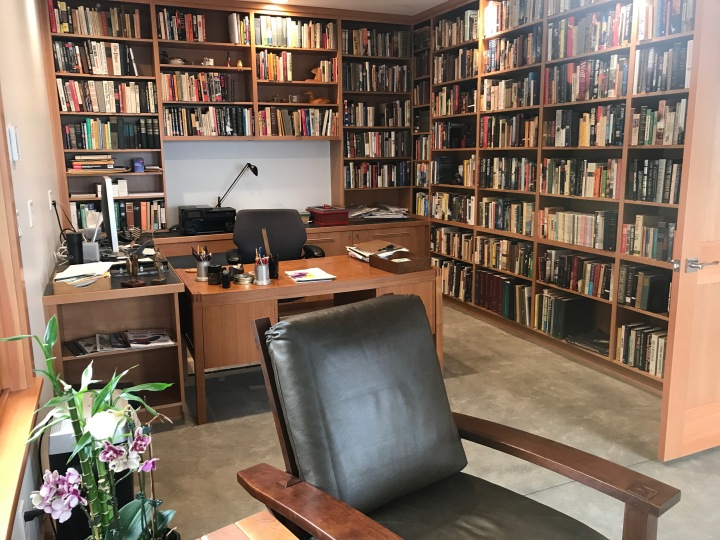 The study shelves are now full of books.