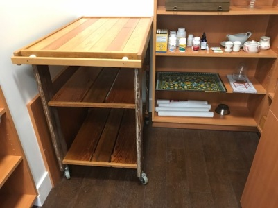 The cart that Mark made for our pantry. It fits perfectly.
