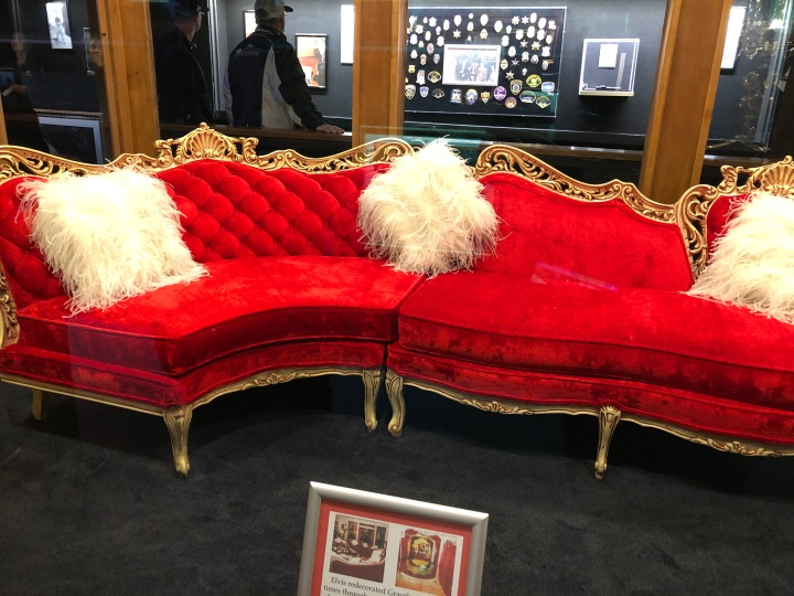 This red couch once graced the mansion but is now in the museum.