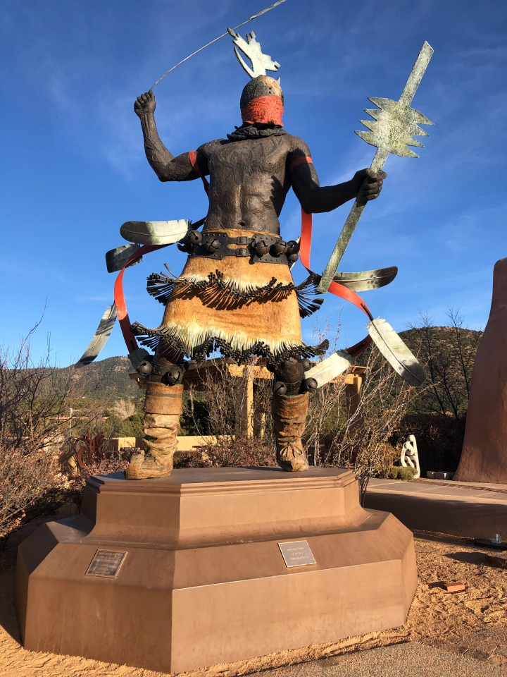The Apache Mountain Spirit Dancer, in bronze, is the largest of the sculptures on Museum Hill.
