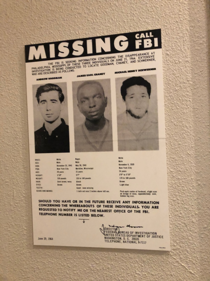 A missing-persons notice for the three civil-rights workers who were found murdered.